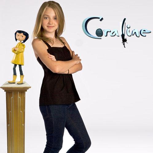 coraline dakota fanning 3d desene animate film 2009