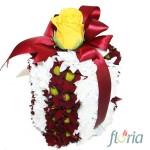 Cutiuta cadou din crizanteme