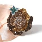 inel calessia ultra modern floare maro