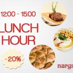 Lunch Hour iti aduce 20% discount la Nargila Grill & Bar